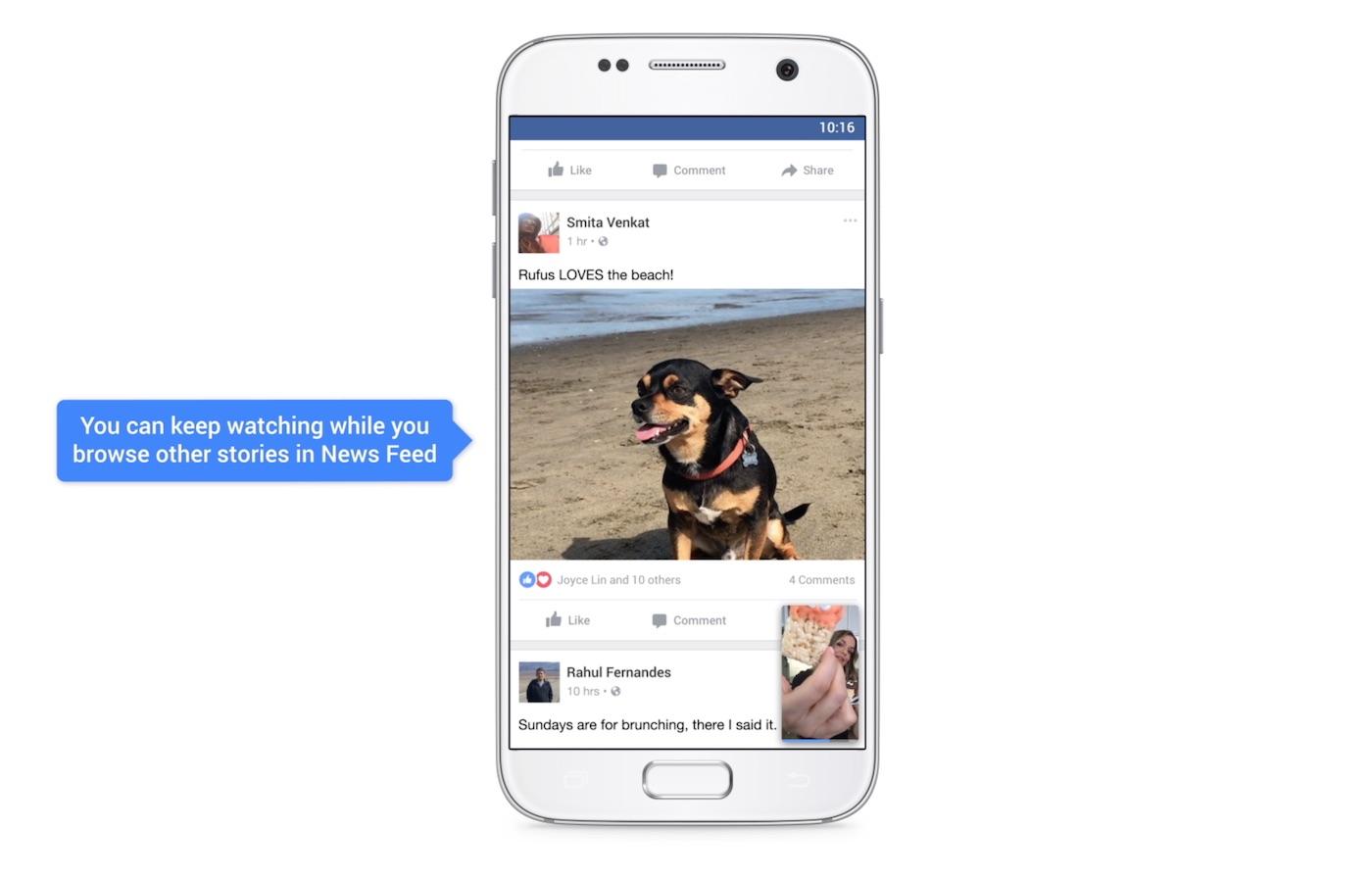 Bild in Bild: Facebook will sichergehen, dass man während des Videoschauens noch weitere Inhalte konsumieren kann.