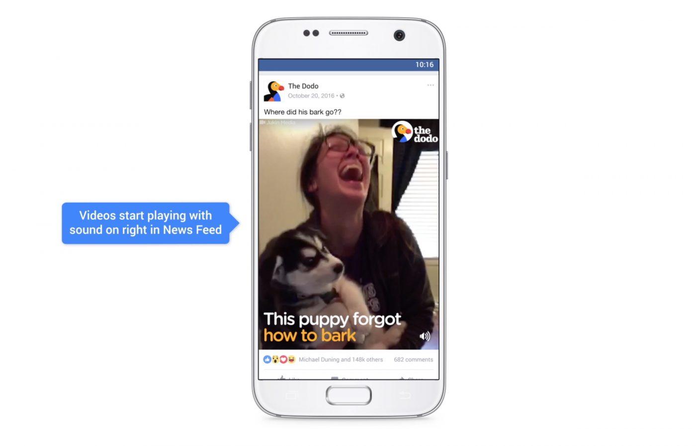 Facebook-Videos starten mit Apps. Auf dem Bildschirm ist ein Sound-Symbol